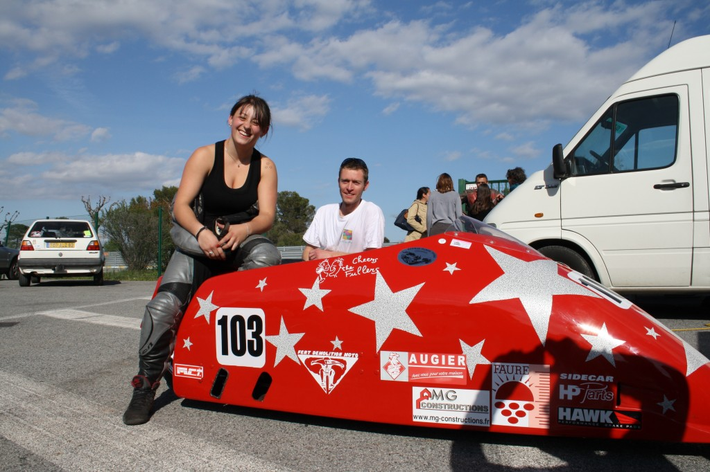 Estelle Leblond et Thomas Quintre, champion de France side-car F2 2012.